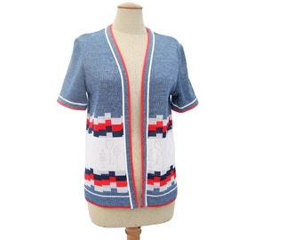 New Vintage Cardigan Sweater Space Dyed Pointelle Lace Tulip Design Short Sleeve Red White Blue Unworn size Medium 1970s Clothing