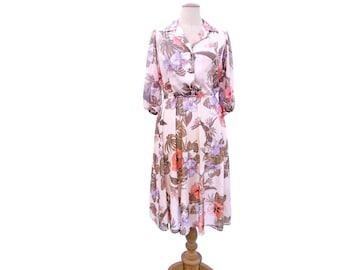 Vintage 70s Shirtwaist Dress Sheer Tropical Floral Lavender Pink Beige Taupe 1970s size Medium Vintage Puff Sleeve Dress