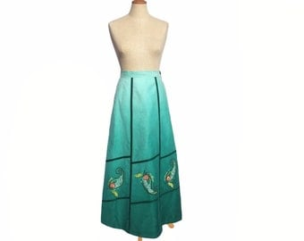 Vintage Maxi Skirt 70s Teal Green Ombre Applique Lace Embroidery Hippie Boho Brushed Denim Skirt size Small Women's Vintage Clothing