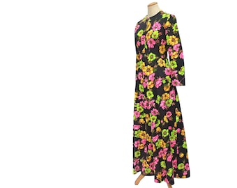 Vintage Maxi Dress 70s Black Floral Pink Green Yellow Flowers Medium