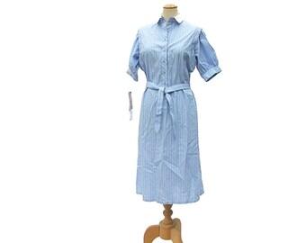 New Vintage Shirt Dress Blue White Stripe Petite size Large Unworn 1980s NWT Preppy Office Deadstock Original Tag