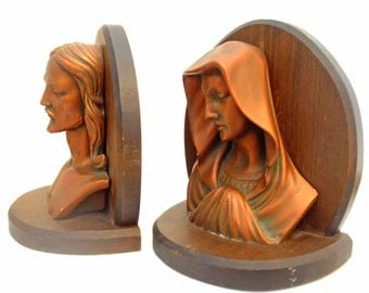 Vintage 40s Chalkware Bookends Wood Religious Copper Colored Bookends Virgin Mary Jesus Busts Figures