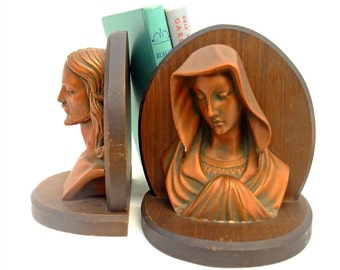 Vintage Chalkware Bookends Wood Virgin Mary Jesus Busts Figures Mid Century Home Decor Religious Collectible