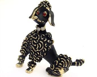 Vintage Brooch Black Poodle Pin Mid Century Gold Rhinestone 50s Costume Jewelry