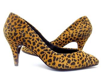 Vintage Shoes Suede Leopard Print Pumps 1980s High Heels size 6