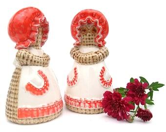 Vintage 70s Large Ceramic Salt & Pepper Shaker Set Orange Burlap Lady