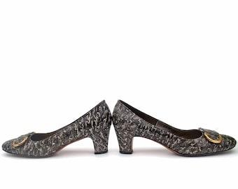Vintage Shoes 60s Black Shoes Ostrich Buckle Andrew Geller size 7 Narrow Mid Heel Pumps Vintage Footwear