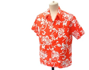 Vintage Hawaiian Shirt Short Sleeve 70s Bright Orange White Batik Floral Print Pointy Collar Shirt size Large Vintage 1970s Mens Clothing
