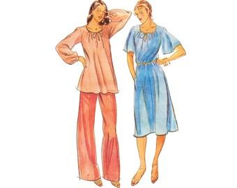 Unused Vintage 1970s Dress Sewing Pattern Tunic Pants Plus Size 22 XXL Bust 45 Uncut Butterick 5685 Half Size Pattern