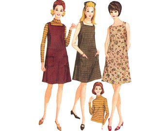 Vintage Sewing Pattern 60s A-Line Jumper Dress Blouse Tee Shirt Knee Length Flare Skirt size Medium Bust 34 - 36 McCall's 8982