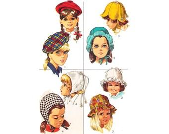50s Vintage Sewing Pattern Flower Petal Hat Girl Toddler Child Bonnet Beret Tam Helmet Ruffle Sunhat Cap Simplicity 7977