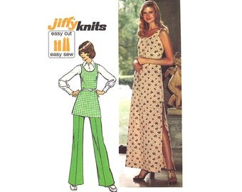 Vintage Maxi Dress 70s Sewing Pattern Tunic Top Pants Size 8 Extra Small XS Bust 31 1/2 Uncut Simplicity 5559 Unused Jiffy Pattern