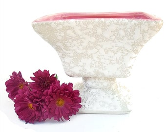 Vintage 1950s Ceramic Planter Pink White Splatter Royal Windsor Vintage Mid Century Home Decor Collectible Rectangular Pedestal Vase