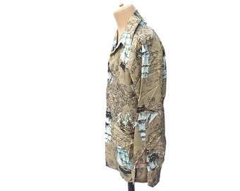 Vintage 1970s Mens Disco Shirt Novelty Map Print Schooner Ship Boats Pointed Pointed Butterfly Collar Long Sleeve Shirt size Extra Large XL