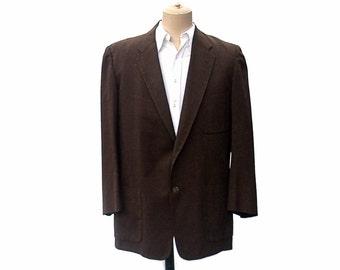 Vintage 1950s Mens Jacket Rockabilly Brown Fleck Plaid Swing Sports Coat Mans Mid Century Rat Pack Swing Jacket