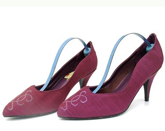 Vintage Shoes 1980s Plum Purple Embroidered Fabric High Heel Pumps 6