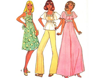 Vintage 70s Sewing Pattern Empire Waist Sundress Maxi Tunic Top Small XS McCall's 4480