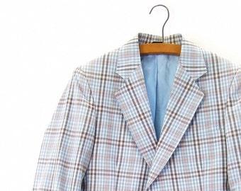 Vintage Sports Coat 70s Plaid Jacket Blue Brown Kuppenheimer size 36 Regular