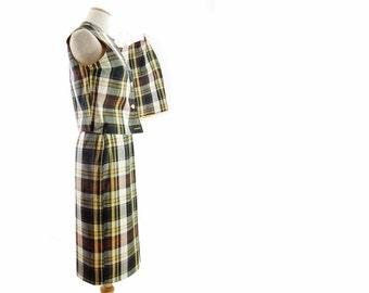 New Vintage Plaid Skirt Vest Shorts Brown Yellow Reversible Unworn size Small 3-Piece Suit NOS Original Tags Deadstock