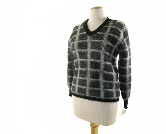 Vintage 60s Mohair Sweater Black Gray Wool Pullover NOS Medium Large