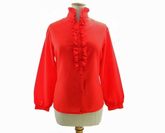 Vintage Red Blouse 80s High Ruffle Neck Tuxedo Victorian Medium Large Joyce