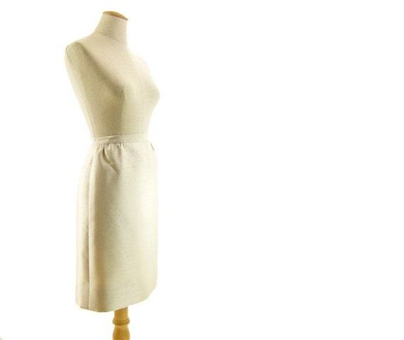 Vintage Silk Skirt 1960s Ivory Fitted Sexy Secretary Extra Small XS