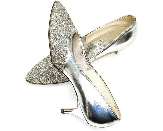 vintage 60s evening shoes silver glitter by mysweetiepiepie