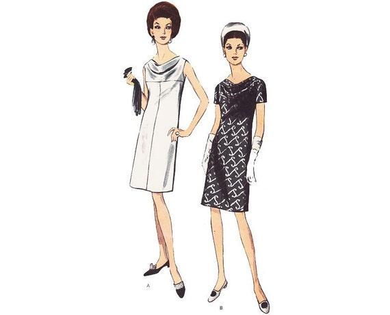Vintage Sewing Pattern 60s Dress Cowl Sheath Sleeveless bust 34 size Medium Short Sleeve Dress Vintage Vogue Sewing Pattern Vogue 7060