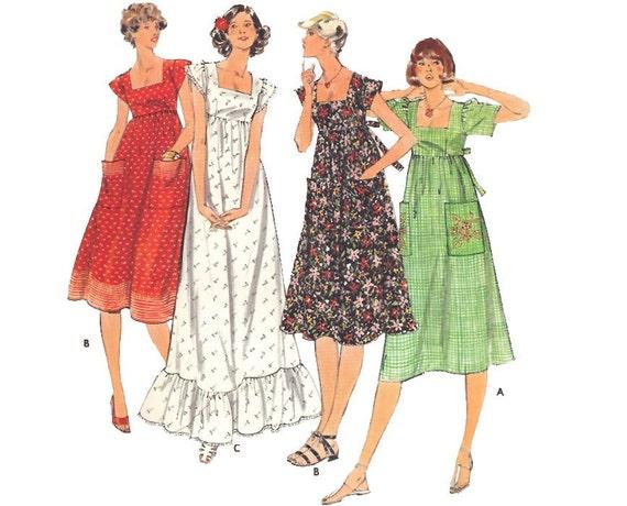 Vintage Sewing Pattern 1970s Maxi Dress Empire Waist Peasant Uncut Medium