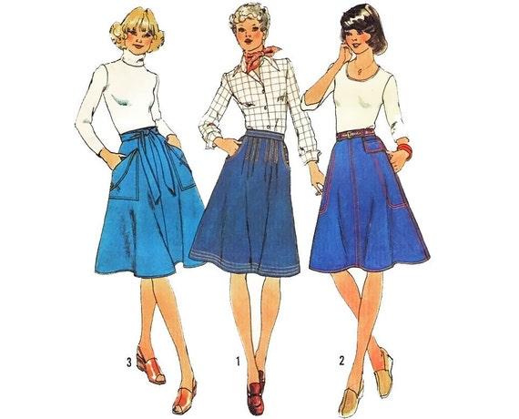 Vintage 70s Sewing Pattern Wrap Denim Flare Jean Skirt size 14