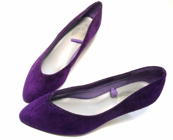 Vintage Purple Shoes Plum Violet Suede Heel Pumps New Unworn 7 1/2 NOS