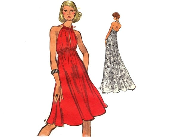 Vintage 70s Sewing Pattern Empire Waist Halter Dress Cleavage