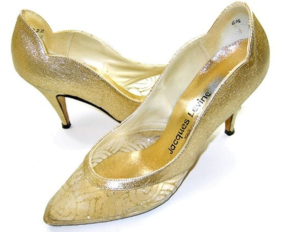 Vintage Shoes Gold Fabric 80s Mesh Evening Pumps Party High Heels 6 1/2
