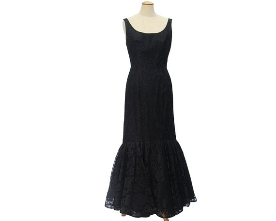 Reserved for Retro - please do not buy -1950s Vintage Mermaid Dress Black Chantilly Lace Evening Gown Small