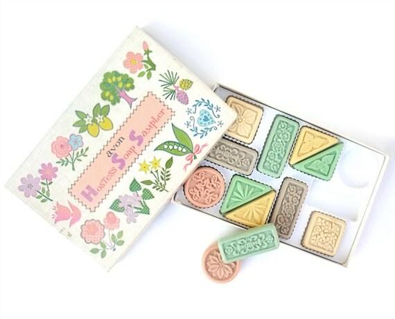 1960s Vintage Pastel Avon Hostess Soap Sampler Original Gift Box