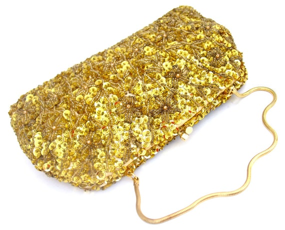 Vintage 1960s Sequin Purse Beaded Gold Convertible Clutch Kisslock Evening Bag Unused Chain Handle Purse NOS Made in Hong Kong