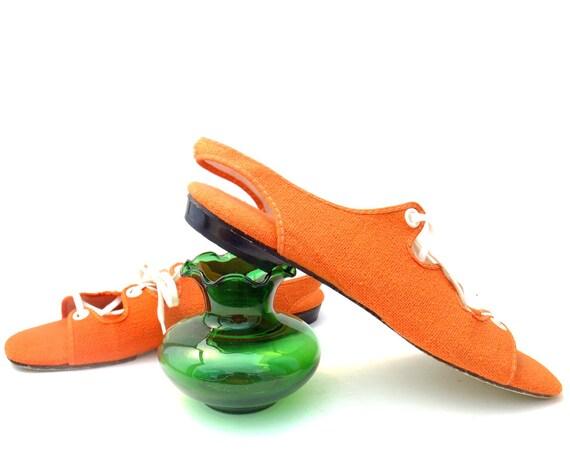 Vintage 60s Shoes Orange Fabric Lace Up Gladiator Sandals Flats size 8
