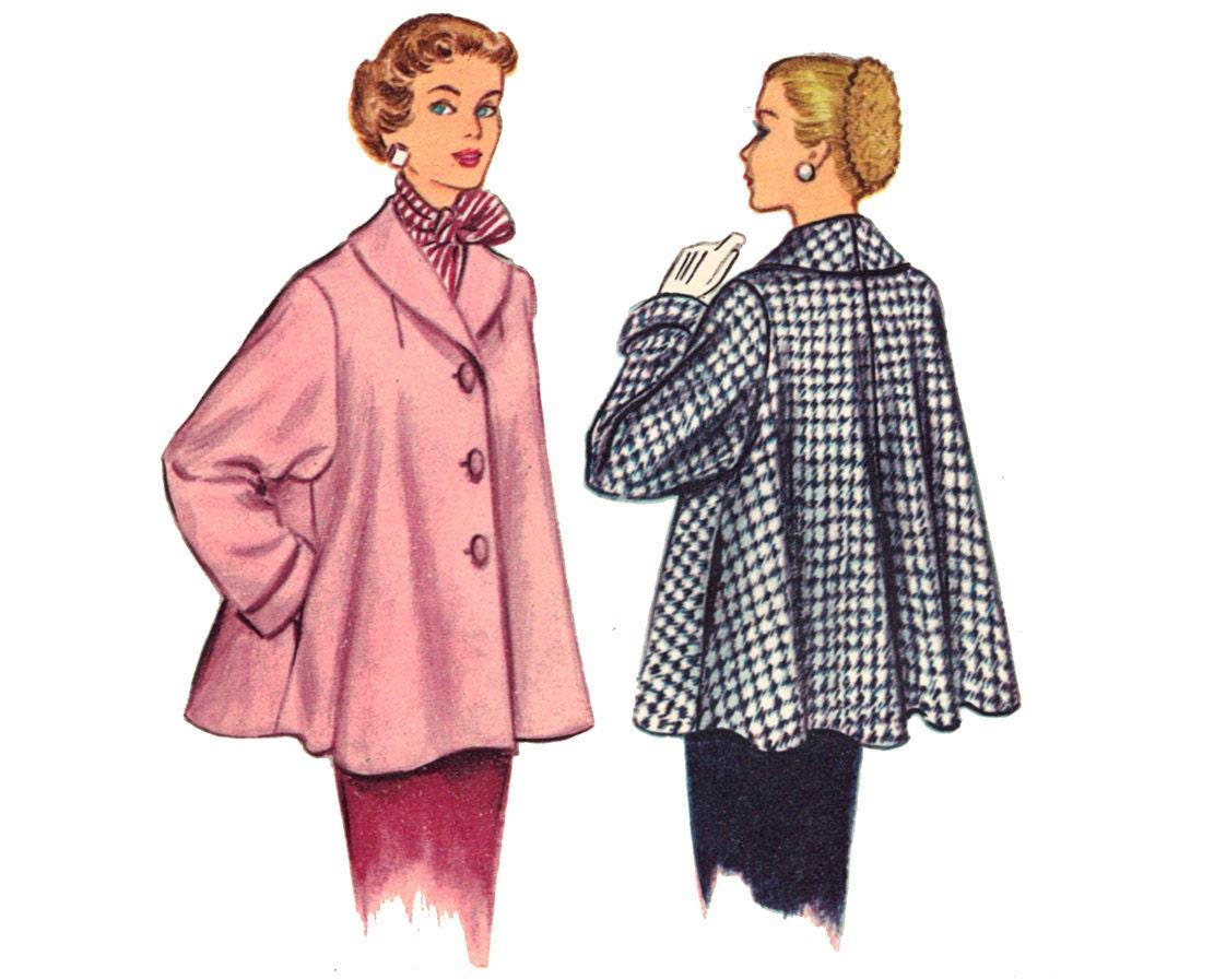 Vintage Swing Coat Sewing Pattern Shawl Collar Bust 34 Medium