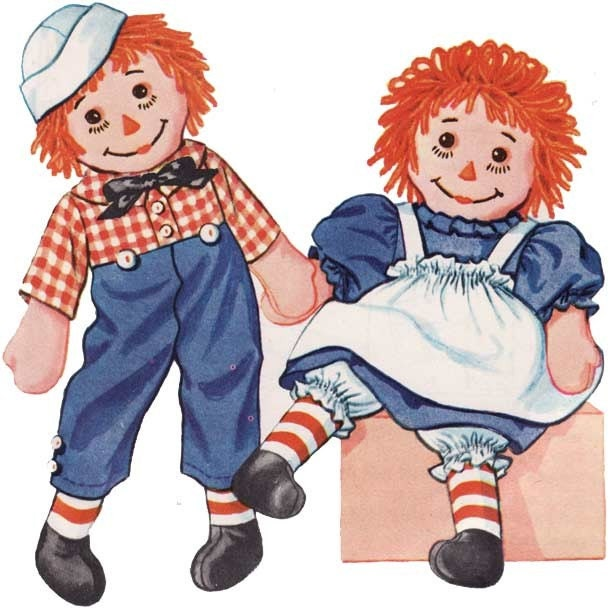Vintage Raggedy Ann And Andy Dolls 90