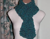 Teal Blue Boucle Scarf, Turquoise Blue Multi
