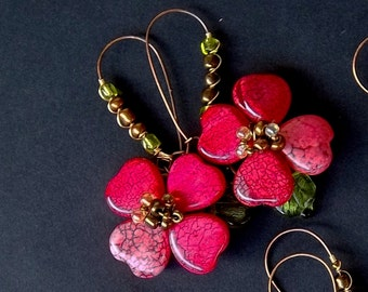 PINK Dogwood Blossom Earrings .... 1 pair or a dozen can be customized