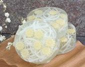 Citrus Sunshine Yellow Daisy Embedded Glycerin Soap Bar - Set of 3 Round Guest Size Made to Order