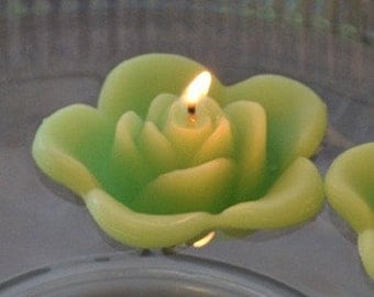 12 Lime Green floating rose wedding candles for table centerpiece and reception decor
