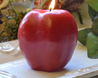 Red apple candle gift for teachers or apple of my eye weddings recepetion centerpeices