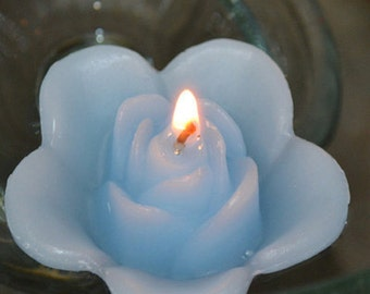 12 Sky Blue floating rose wedding candles for table centerpiece and reception decor