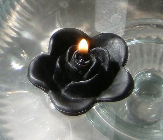 12 Black floating rose wedding candles for table centerpiece and reception decor.