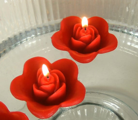 Floating Rose Centerpiece: 12 Red Floating Rose Wedding Candles For Table By