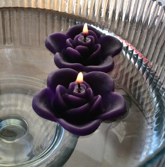Floating Rose Centerpiece: 12 Purple Floating Rose Wedding Candles For Table Centerpiece