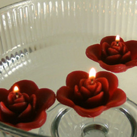Burgundy floating rose wedding candles for by