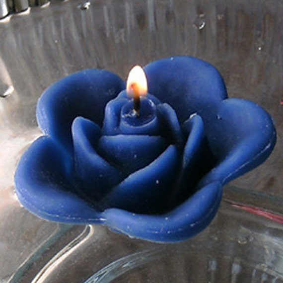 12 Navy Blue floating rose wedding candles for table centerpiece and reception decor.